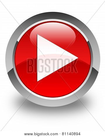 Play Icon Glossy Red Round Button