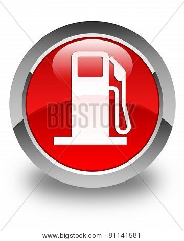 Fuel Dispenser Icon Glossy Red Round Button