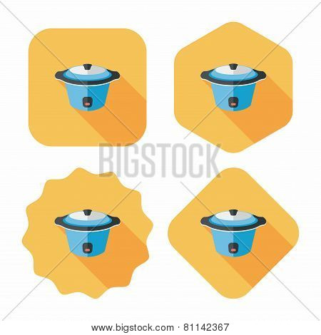 Kitchenware Electric Pot Flat Icon With Long Shadow,eps10