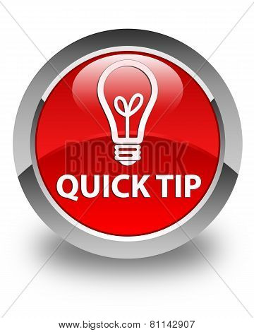 Quick Tip (Bulb Icon) Glossy Red Round Button