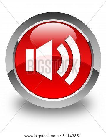 Volume Icon Glossy Red Round Button