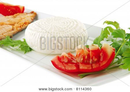 Grilled Salmon Fillet With Soft Cheese
