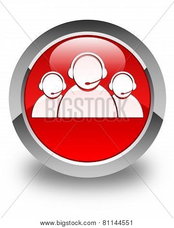 Customer Care Team Icon Glossy Red Round Button