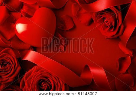 Valentine red heart on red silk background. Valentines Day frame background