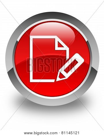 Edit Document Icon Glossy Red Round Button