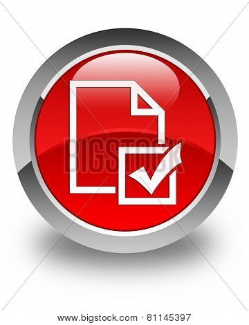 Survey Icon Glossy Red Round Button
