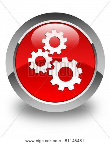 Gears Icon Glossy Red Round Button