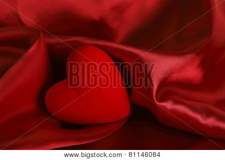 Red Heart On Satin