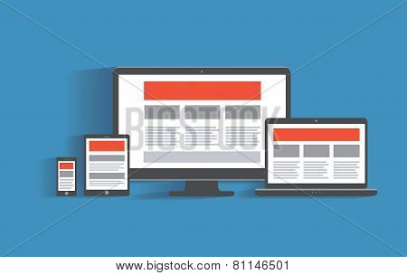 Responsive web design concept.  Desktop computer, tablet pc, lap
