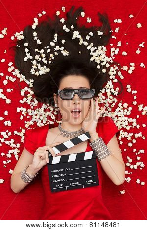 Surprised Girl with 3D Cinema Glasses,  Popcorn Director Clapboard