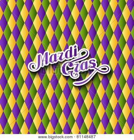 vector illustration of Mardi Gras or Shrove Tuesday lettering label on checkered background. Holiday