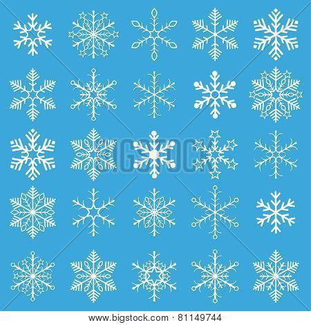 White Snowflakes Blue Background