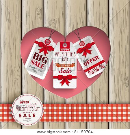 Heart Hole Price Stickers Wood