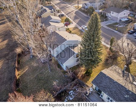 FORT COLLINS, CO, USA - JANUARY 25, 2015: Aerial view of typical residential neighborhood along Front Range of Rocky Mountains in Colorado,  wintertime.