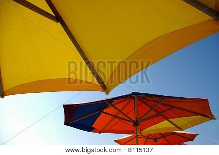Colorful beach sunshades