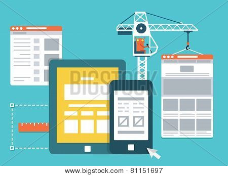 Process Of Creating Site. Development Skeleton Framework Of A Website