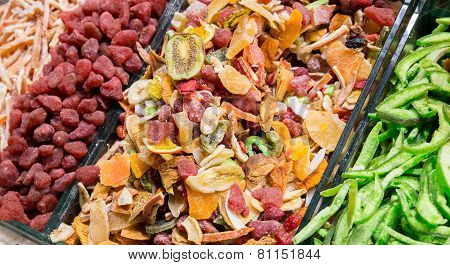 various dried fruits at the market in Istanbul