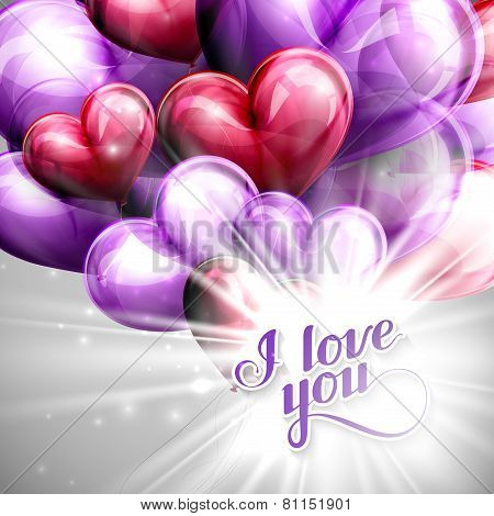 vector holiday illustration of  I love you label on the festive balloon hearts background with shiny