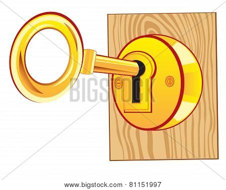 Golden key in lock