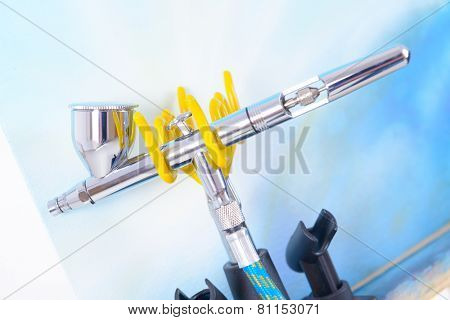 Professional airbrush on a stand