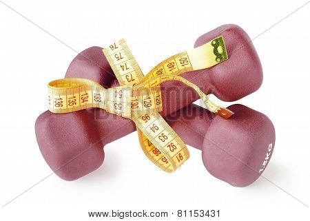 Red Dumbbells Tied Measuring Tape