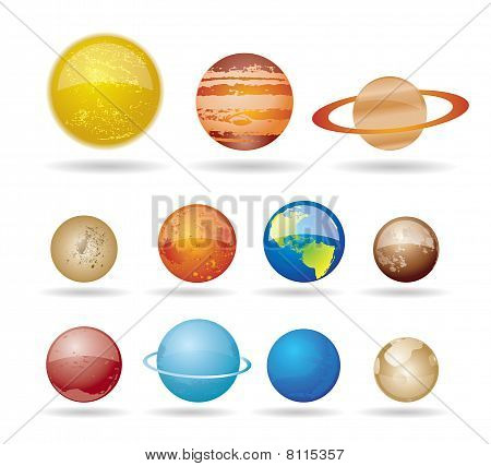 Planets and sun from our solar system