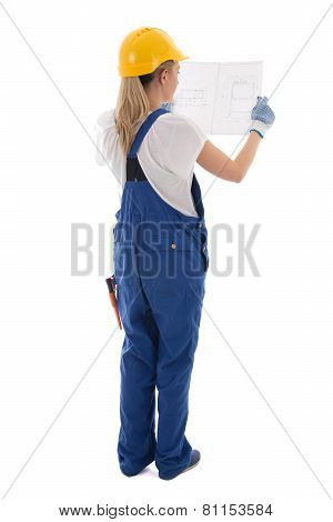 Back View Of Woman In Blue Builder Uniform Holding Building Plan Isolated On White