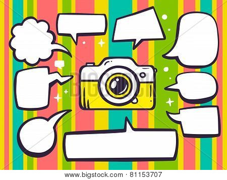 Illustration Of Photo Camera With Speech Comics Bubbles On Color Pattern Background.