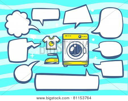 Illustration Of Washing Machine With Speech Comics Bubbles On Blue Pattern Background.