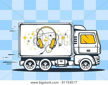 Illustration Of Truck Free And Fast Delivering Headphones To Customer On Pattern Background.