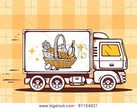 Illustration Of Truck Free And Fast Delivering Basket With Food To Customer On  Pattern Backg