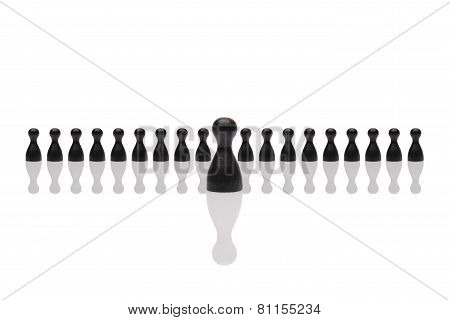 Business Concept Leader Step Forward Group Small Black