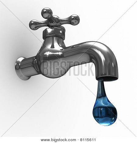 Tap On White Background. Isolated 3D Image