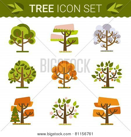 Set of different trees, rocks, grass. Sprites for the game. vector flat forests illustrations