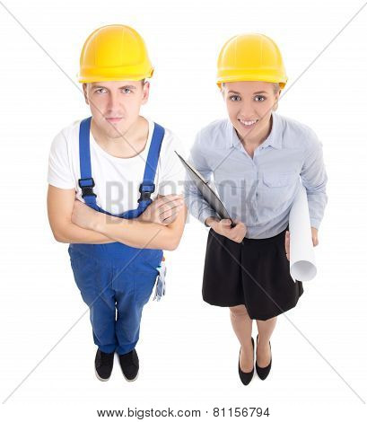 Team Work Concept - Handsome Man In Builder's And Beautiful Woman Architect  Isolated On White