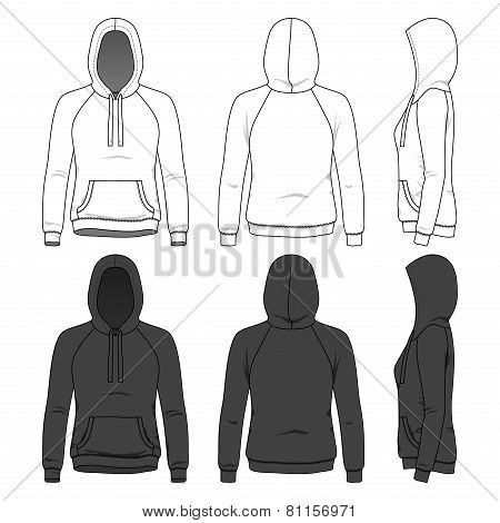 Front, Back And Side Views Of Blank Hoodie