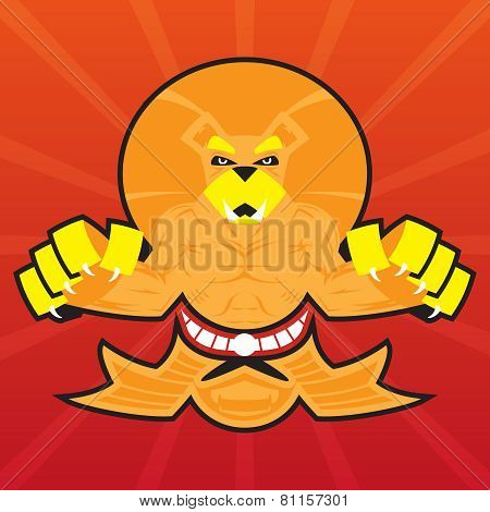 Team Logo Battle Claws Lion Symbol Sport Mascot Icon on Stylish Background Vector Illustration
