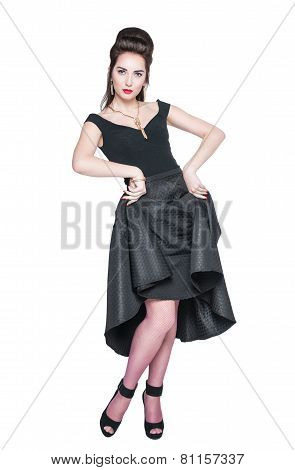 Young Beautiful Woman In Retro Pin Up Style Posing