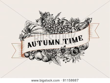 Autumn. Vintage vector card.