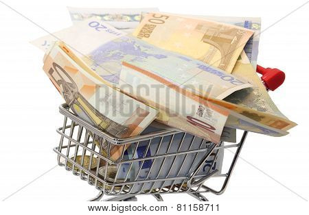 Shopping Cart Full Of Euro Banknotes On White Background