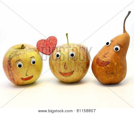 Two Big Apples With The Heart And A Pear