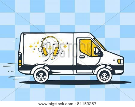 Illustration Of Van Free And Fast Delivering Headphones To Customer On Blue Background.