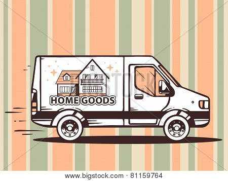 Illustration Of Van Free And Fast Delivering Home Goods To Customer On Pattern Background.