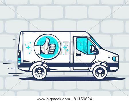 Illustration Of Van With Label Thumb Up Free And Fast Delivering To Customer On Gray Brick Pa
