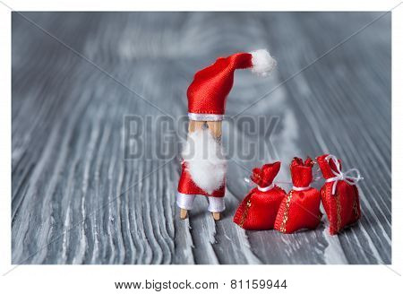 Santa Claus With A Bags Of Gifts