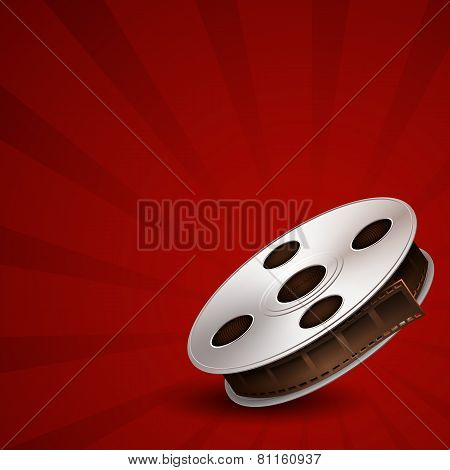 Film tape on red background