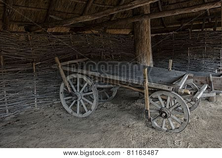 wooden empty cart