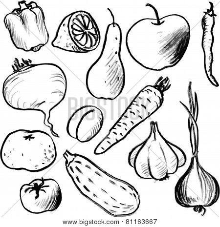 Set of drawing vegetables and fruits