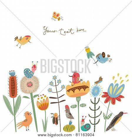 Romantic card with birds
