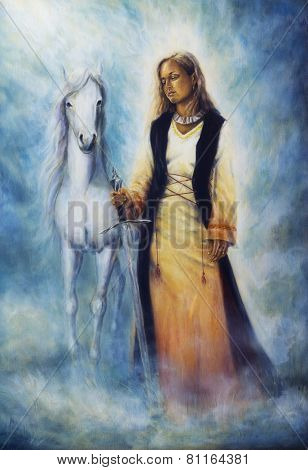 Beautiful Oil Painting Of A Mystical Woman In Historical Dress Holding A Sword Of Silver, With A Whi